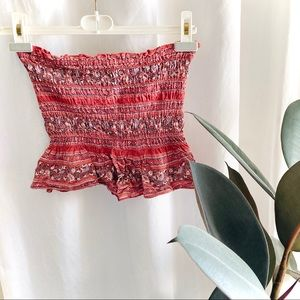 AE smocked patterned flare tube top